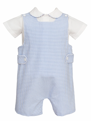 Anavini Baby / Toddler Boys Blue Check Seersucker Jon Jon with Shirt