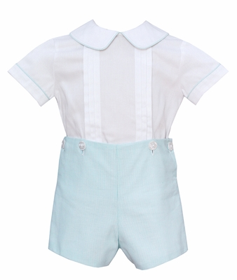 Anavini Baby / Toddler Boys Turquoise Blue Stripe Button On Shorts Set