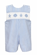 Anavini Baby / Toddler Boys Blue Stripe Smocked Sea Shells Jon Jon