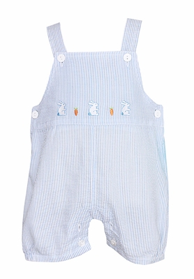 Anavini Baby / Toddler Boys Blue Striped Easter Bunnies Overall