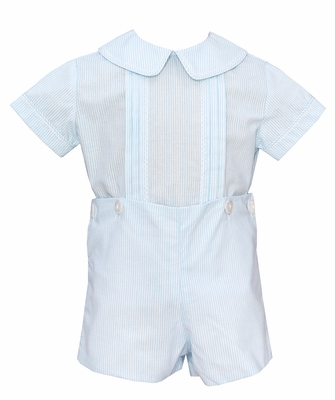 Anavini Baby / Toddler Boys Turquoise Blue Striped Button On Outfit