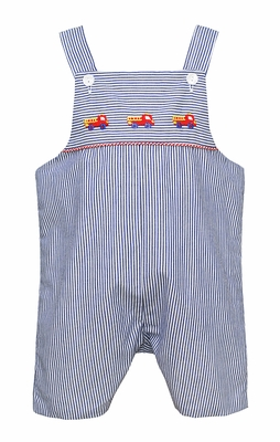 Anavini Baby / Toddler Boys Blue Striped Embroidered Firetruck Overall