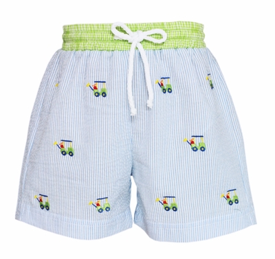 Anavini Baby / Toddler Boys Blue Striped Embroidered Golf Carts Swim Trunks