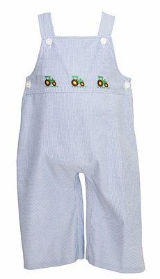 Anavini Baby / Toddler Boys Blue Striped Longall with Three Green Tractors