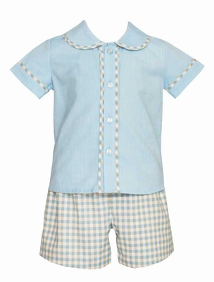 Anavini Baby / Toddler Boys Blue / Tan Plaid Dressy Shorts Set