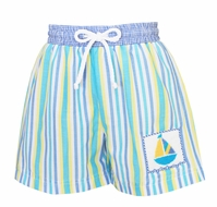 Anavini Baby / Toddler Boys Blue / Yellow Striped Smocked Sailboat Swim Trunks