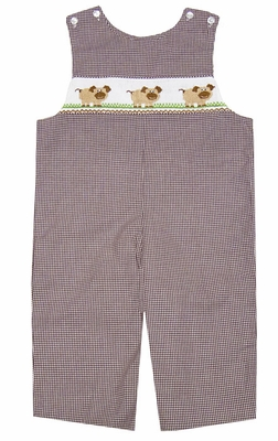 Anavini Velani Baby / Toddler Boys Brown Gingham Smocked Tan Pigs Longall