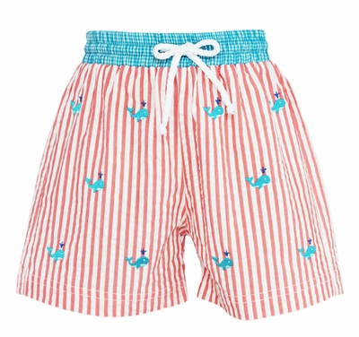 Anavini Baby / Toddler Boys Coral Striped Embroidered Whales Swim Trunks