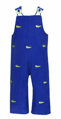 Anavini Baby / Toddler Boys Embroidered Preppy Green Alligators on Royal Blue Corduroy Longall