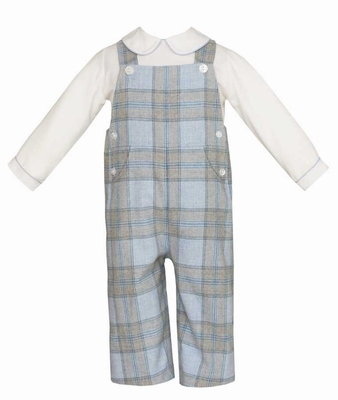 Anavini Baby / Toddler Boys Gray / Blue Plaid Longall with Shirt
