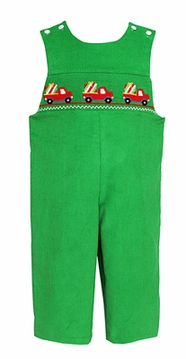 Anavini Baby / Toddler Boys Green Corduroy Longall - Smocked Trucks with Christmas Gifts
