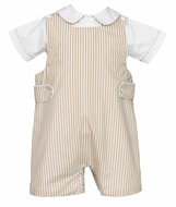 Anavini Baby / Toddler Boys Khaki Tan Striped Shortall with Pique Shirt