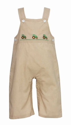 Anavini Baby / Toddler Boys Khaki Tan Check Green Tractors Longall