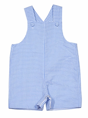 Anavini Baby / Toddler Boys Light Blue Gingham Seersucker Shortall