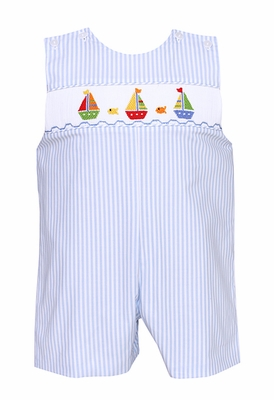 Anavini Baby / Toddler Boys Light Blue Striped Smocked Sailboats Shortall