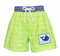 Anavini Baby / Toddler Boys Lime Green Waves Smocked Blue Whale Swim Trunks