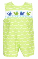 Anavini Baby / Toddler Boys Lime Green Waves Smocked Whales Shortall