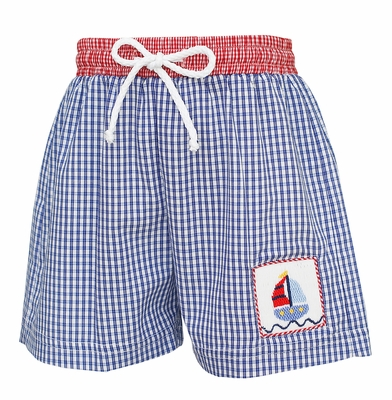 Anavini Baby / Toddler Boys Navy Blue Check Smocked Sailboat Swim Trunks