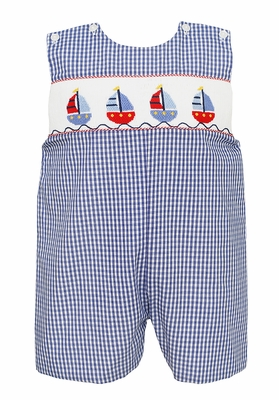 Anavini Baby / Toddler Boys Navy Blue Check Smocked Sailboats Jon Jon