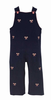 Anavini Baby / Toddler Boys Navy Blue Corduroy Embroidered Candy Canes Longall