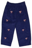 Anavini Baby / Toddler Boys Navy Blue Corduroy Pull On Pants - Embroidered Candy Canes
