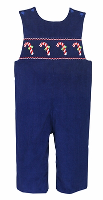 Anavini Baby / Toddler Boys Navy Blue Corduroy Smocked Candy Canes Longall