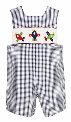 Anavini Baby / Toddler Boys Navy Blue Gingham Smocked Airplanes Shortall