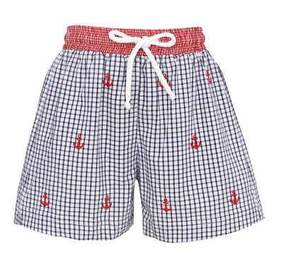 Anavini Baby / Toddler Boys Navy Blue Seersucker Swim Trunks - Embroidered Red Anchors