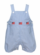 Anavini Baby / Toddler Boys Navy Blue Stripe Patriotic Flags Shortall