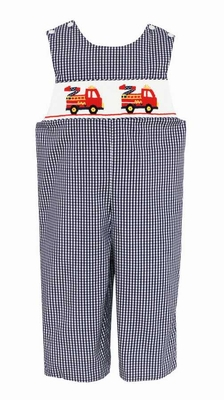 Anavini Baby / Toddler Boys Navy Blue Gingham Smocked Red Firetrucks Longall