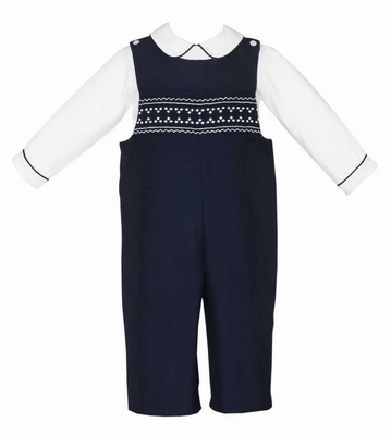 Anavini Baby / Toddler Boys Navy Blue Twill Smocked Longall with Shirt