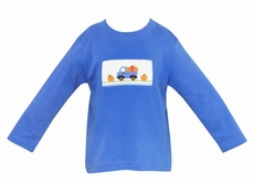 Anavini Baby / Toddler Boys Periwinkle Blue Shirt with Smocked Pumpkin Truck