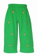 Anavini Baby / Toddler Boys Pull On Pants - Green Corduroy with Embroidered Reindeer