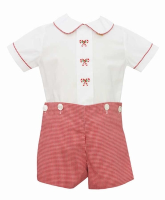 Anavini Baby / Toddler Boys Red Check Embroidered Candy Canes Button On Outfit