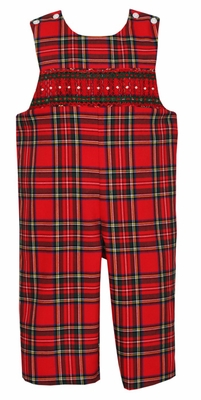 Anavini Baby / Toddler Boys Red Christmas Holiday Plaid Smocked Longall