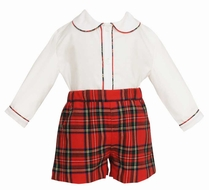Anavini Baby / Toddler Boys Red Christmas Plaid Dressy Shorts Set