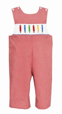Anavini Velani Baby / Toddler Boys Red Check Smocked Crayons Back to School Longall