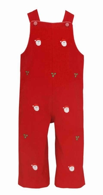 Anavini Baby / Toddler Boys Red Corduroy Embroidered Santa Faces Longall