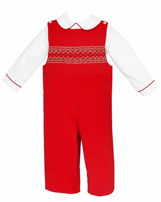 Anavini Baby / Toddler Boys Red Corduroy Smocked Longall with Shirt