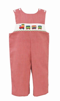 Anavini Baby / Toddler Boys Red Check Smocked Trains Longall