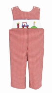 Anavini Baby / Toddler Boys Red Gingham Smocked Golf Longall