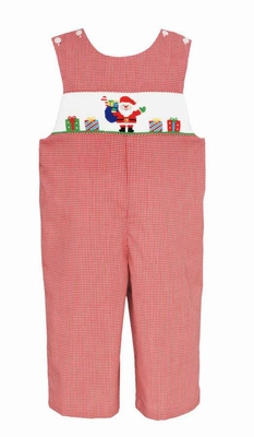 Anavini Velani Baby / Toddler Boys Red Gingham Smocked Santa Gfits Longall