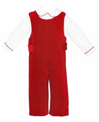 Anavini Baby / Toddler Boys Red Velvet Longall with Shirt