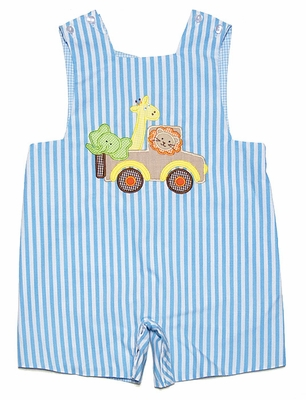 Anavini Baby / Toddler Boys Reversible Turquoise Striped Shortall - Zoo Animals / Blue Soccer Ball on Reverse!