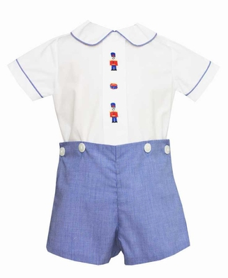Anavini Baby / Toddler Boys Royal Blue Check Button On Outfit - Toy Nutcracker Soldiers