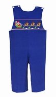 Anavini Baby / Toddler Boys Royal Blue Corduroy Smocked Santa Sleigh Longall