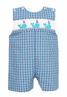 Anavini Baby / Toddler Boys Royal Blue / Turquoise Plaid Smocked Whales Jon Jon