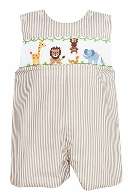 Anavini Baby / Toddler Boys Tan Khaki Stripe Jon Jon - Smocked Safari Jungle Animals - Exclusively at The Best Dressed Child