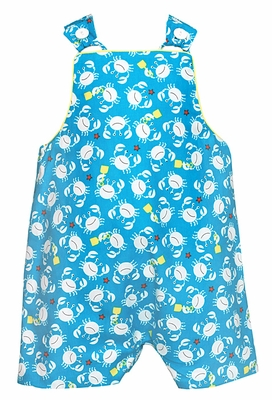 Anavini Baby / Toddler Boys Turquoise Blue Crab Print Shortall