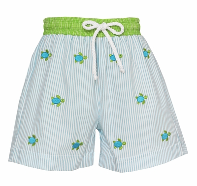 Anavini Baby / Toddler Boys Turquoise Blue Stripe Swim Trunks - Embroidered Sea Turtles
